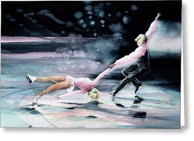 Winter Sports Art Prints Greeting Cards - Perfect Harmony Greeting Card by Hanne Lore Koehler