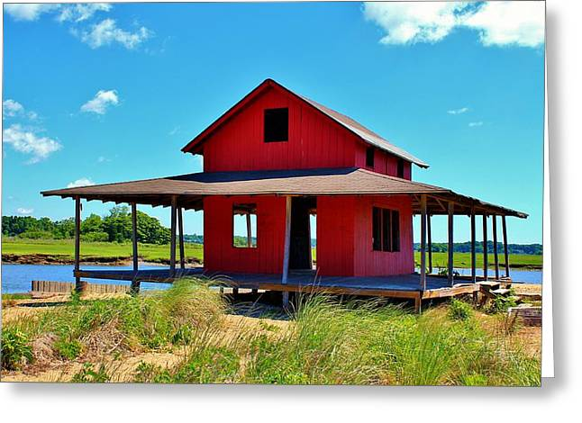 Shack Greeting Cards - Perfect Morning on Grass Island Greeting Card by Catie Canetti