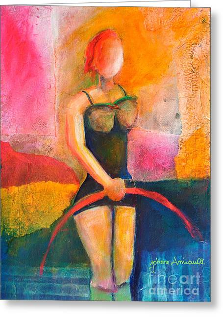 Gym Mixed Media Greeting Cards - Performing Greeting Card by Johane Amirault