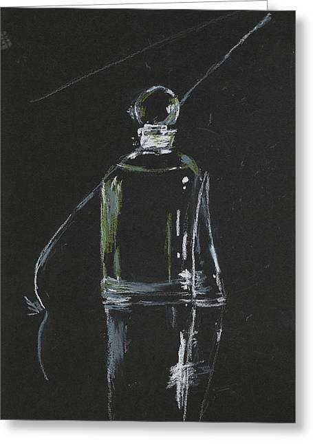 Perfume Bottle Greeting Card by Dan Comaniciu
