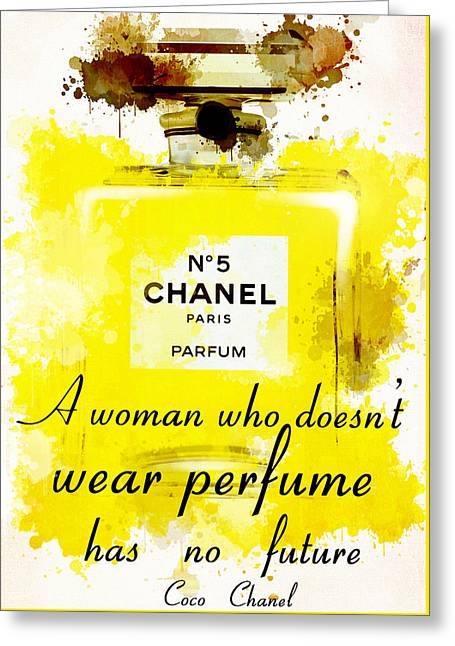 Recently Sold -  - Powder Greeting Cards - Perfume Chanel No. 5 Greeting Card by Nostalgic Art