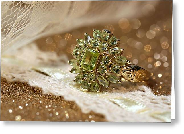 Gold Jewelry Greeting Cards - Peridot Greeting Card by Gary Yost