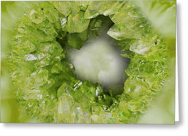 Peridot Green Crystal Heart Greeting Card by Tina Lavoie