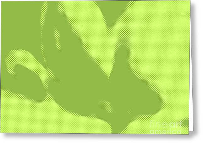 Avocado Green Greeting Cards - Peridot Tulip Pop Mod Greeting Card by Jayne Logan Intveld