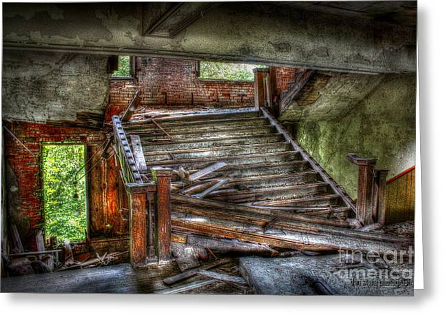 Wooden Stairs Greeting Cards - Perilous Passages Greeting Card by Dan Stone