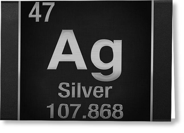 Silber Greeting Cards - Periodic Table of Elements - Silver - Ag - Silver on Black Greeting Card by Serge Averbukh