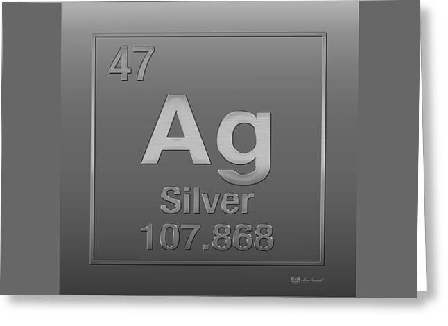 Silber Greeting Cards - Periodic Table of Elements - Silver - Ag - Silver on Silver Greeting Card by Serge Averbukh
