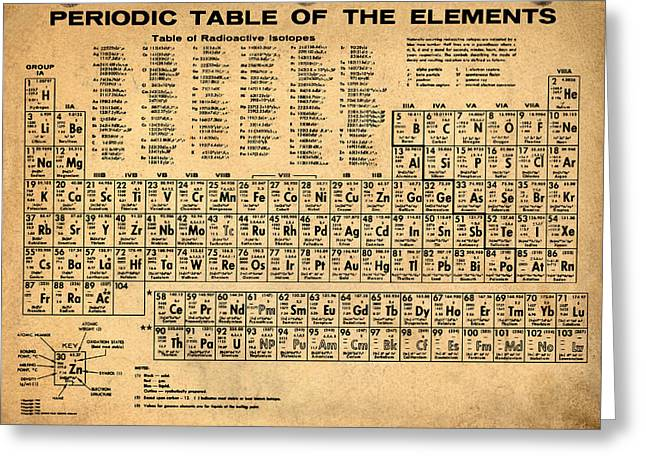 Periodic Table  Of The Elements Greeting Card by Bill Cannon