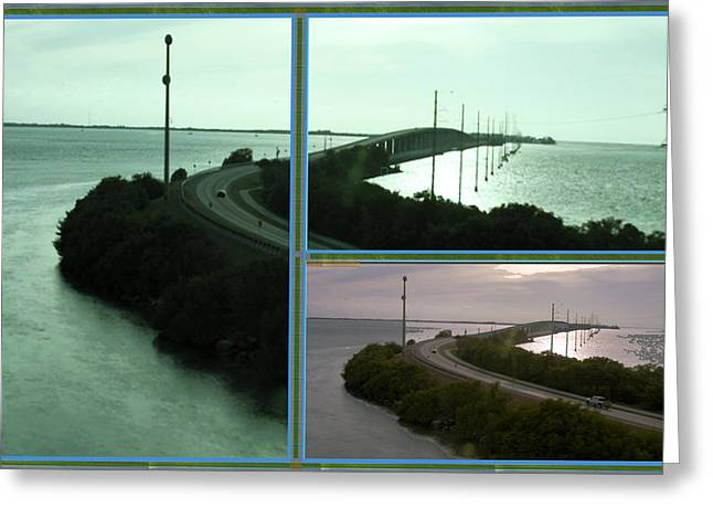 Customizable Greeting Cards - Periscope Photography of roads n baches 90 miles south of Miami on the island chain of Islamorada Greeting Card by Navin Joshi