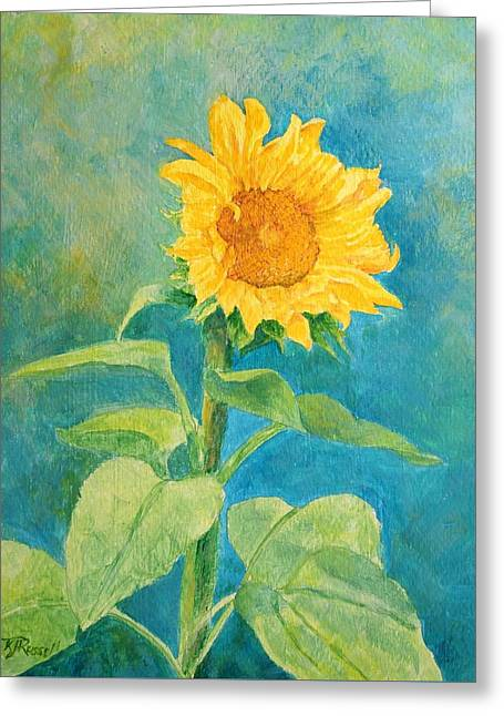Perky Sunflower Colorful Painting Greeting Card by K Joann Russell