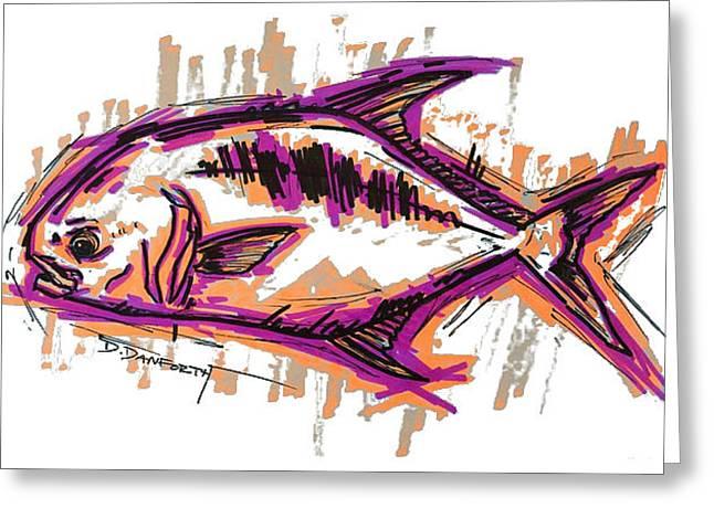 Florida Gators Mixed Media Greeting Cards - Permit Artwork Salt Water Fly Fishing Greeting Card by David Danforth