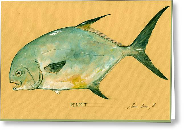 Fishing Art Print Greeting Cards - Permit fish Greeting Card by Juan  Bosco