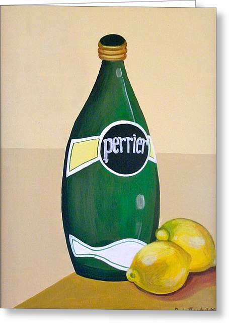 Carla Bank Greeting Cards - Perrier and lemon Greeting Card by Carla Bank