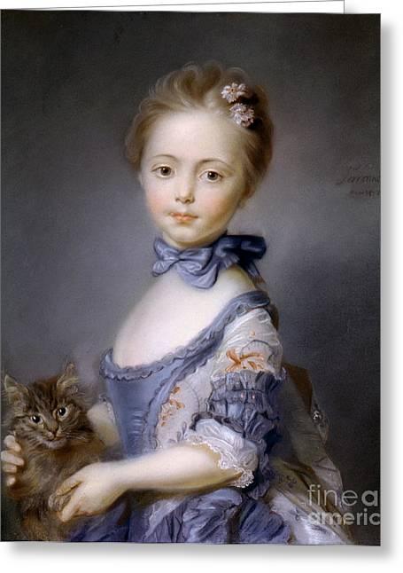 Kitten Pastel Kitten Greeting Cards - Perronneau: Girl, 1745 Greeting Card by Granger