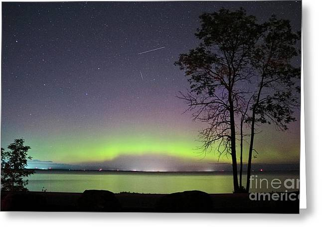 Perseid Meteor And Aurora Greeting Card by Charline Xia
