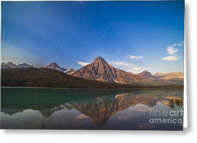 Perseid Photographs Greeting Cards - Perseid Meteors Over Mt. Chephren Greeting Card by Alan Dyer
