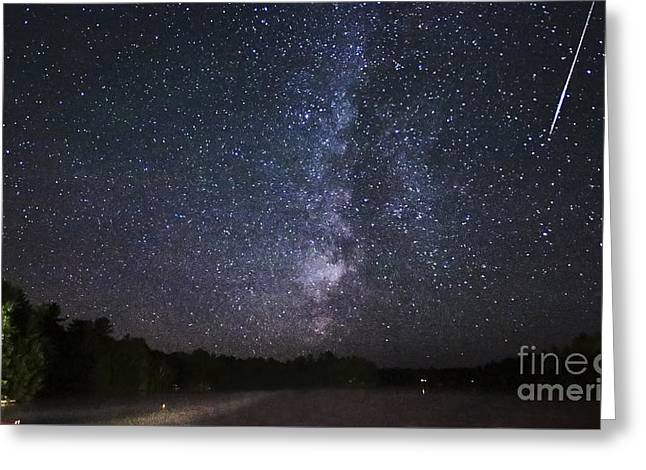 Perseid Meteor Greeting Cards - Perseids Meteor Shower Over Cottage Country Greeting Card by Charline Xia
