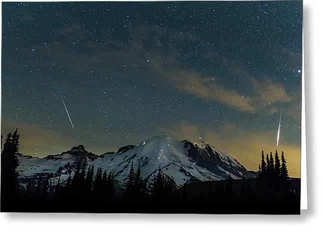 Perseids Over Mt Rainier Greeting Card by Angie Vogel