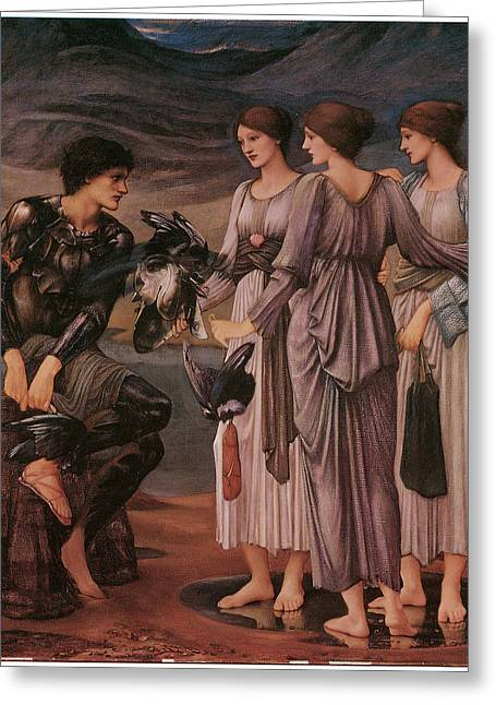 Perseus Greeting Cards - Perseus and the Sea Nymphs Greeting Card by Edward Burne-Jones