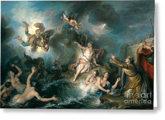 Perseus Rescuing Andromeda Greeting Card by Charles Antoine Coypel