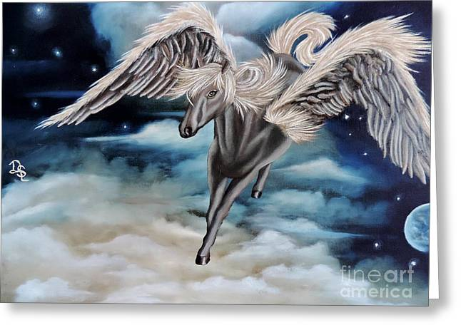 Print On Canvas Greeting Cards - Perseus The Pegasus Greeting Card by Dianna Lewis