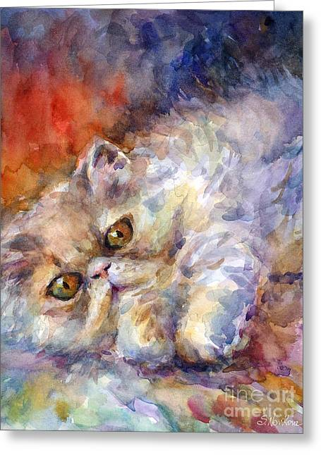 Cute Kitten Drawings Greeting Cards - Persian Cat painting Greeting Card by Svetlana Novikova