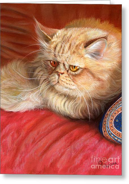 Feline Pastels Greeting Cards - Persian cat Greeting Card by Svetlana Ledneva-Schukina