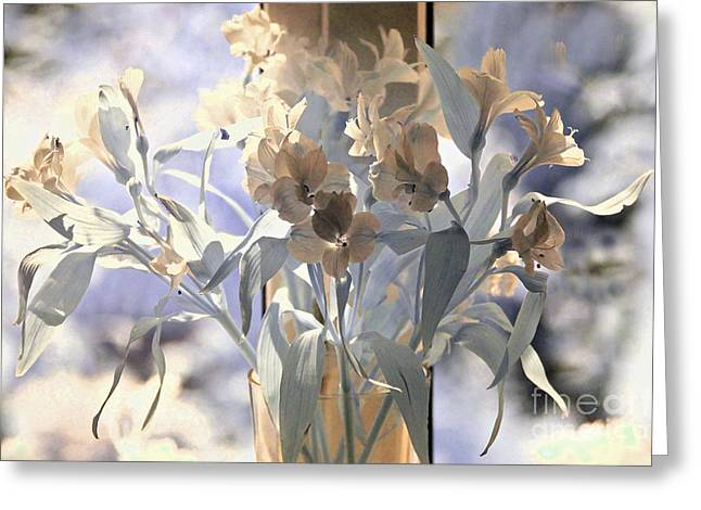 Glass Vase Greeting Cards - Persian Lilies Greeting Card by Ron Evans