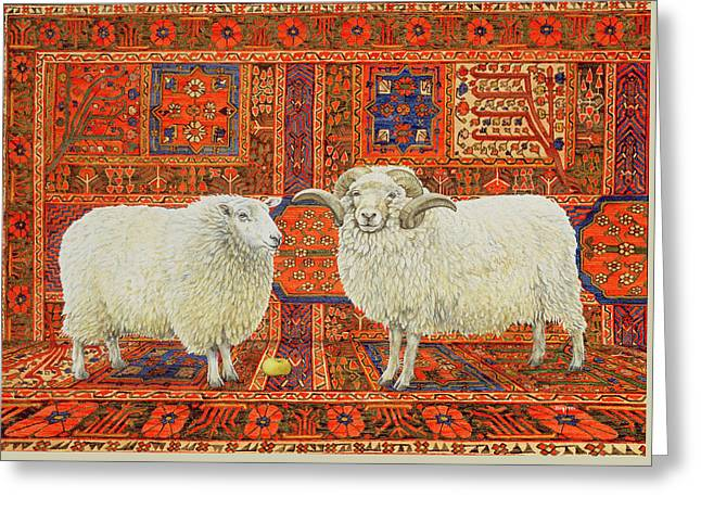 Persian Rug Greeting Cards - Persian Wool Greeting Card by Ditz
