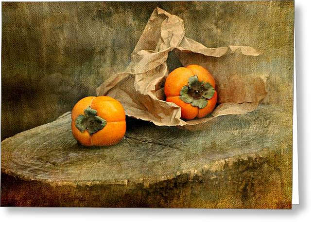 Brown Paper Bag Greeting Cards - Persimmons Greeting Card by Diana Angstadt