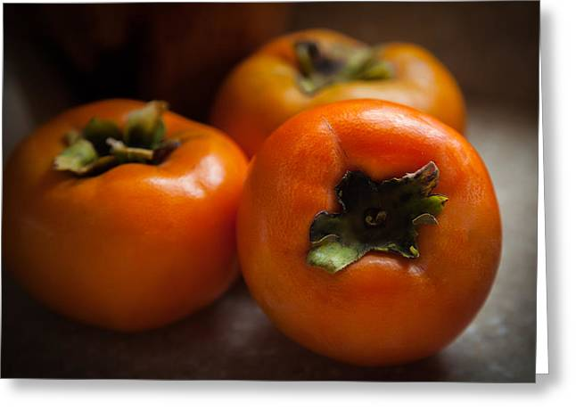 Persimmons Greeting Card by Karen Wiles
