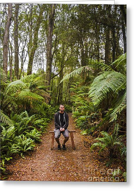 Recreational Park Greeting Cards - Person at peace in tropical jungle in Australia Greeting Card by Ryan Jorgensen