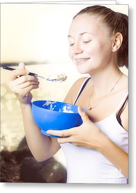 Granola Greeting Cards - Person outdoors eating a bowl of oat meal and milk Greeting Card by Ryan Jorgensen