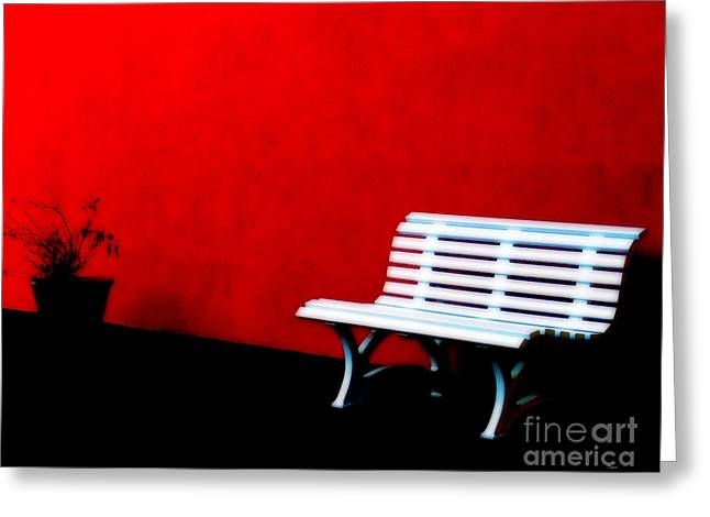 Park Benches Greeting Cards - Perspective in Bench White   Greeting Card by Steven  Digman