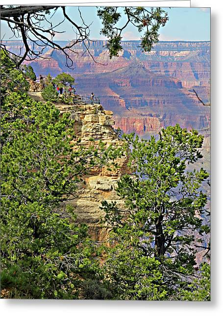 Ledge Greeting Cards - Perspective of Grand Canyon Greeting Card by Linda Phelps