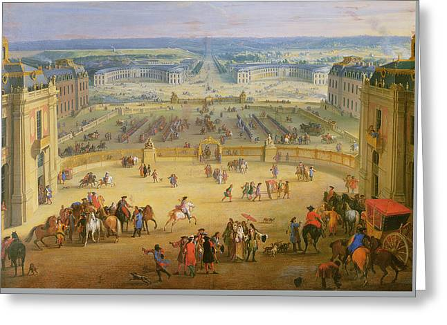 Royal Family s Paintings Greeting Cards - Perspective View from the Chateau of Versailles Greeting Card by Jean-Baptiste Martin