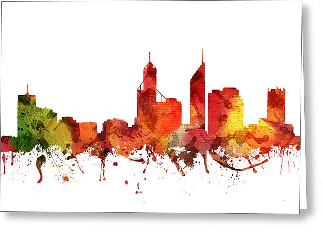 Western Australia Greeting Cards - Perth Cityscape 04 Greeting Card by Aged Pixel