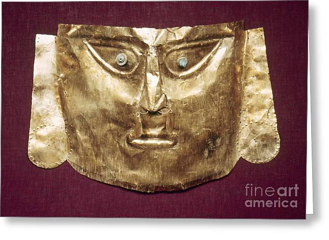 Ancient Indian Art Greeting Cards - Peru: Chimu Gold Mask Greeting Card by Granger