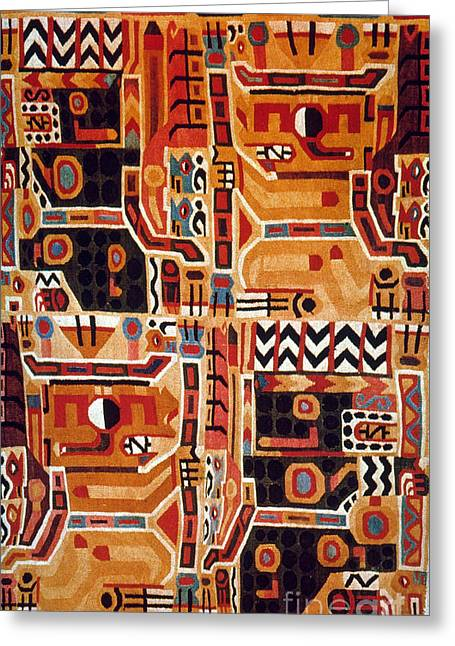 8th Century Greeting Cards - Peru: Tunic Fragment Greeting Card by Granger