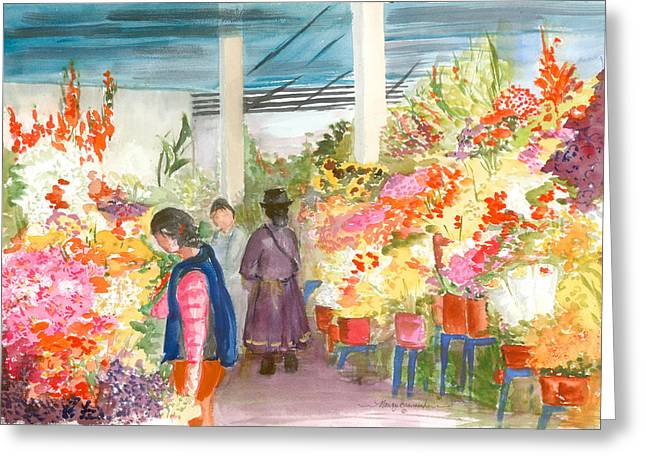 Gladiolas Mixed Media Greeting Cards - Peruvian Flower Market Greeting Card by Nancy Brennand