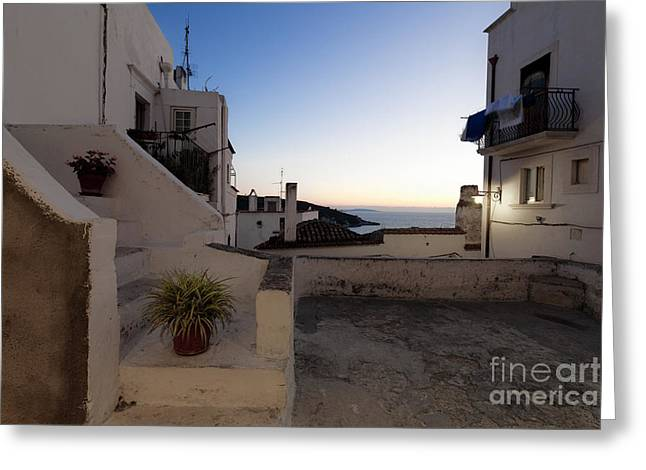 Sicily Greeting Cards - Peschici in the evening Greeting Card by Wolfgang Steiner