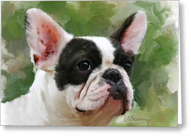 Time2paint Greeting Cards - Pet Bulldog Portrait Greeting Card by Michael Greenaway