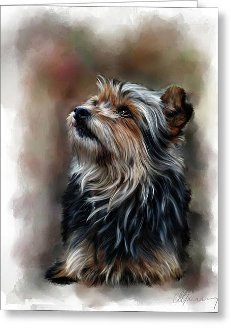 Puppies Mixed Media Greeting Cards - Pet Dog Portrait Greeting Card by Michael Greenaway