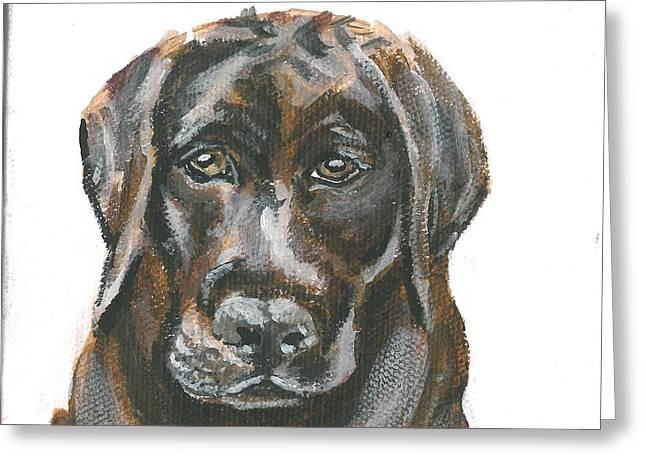Chocolate Lab Greeting Cards - Pet Portrait - Choc Lab Greeting Card by Sarah Lowe
