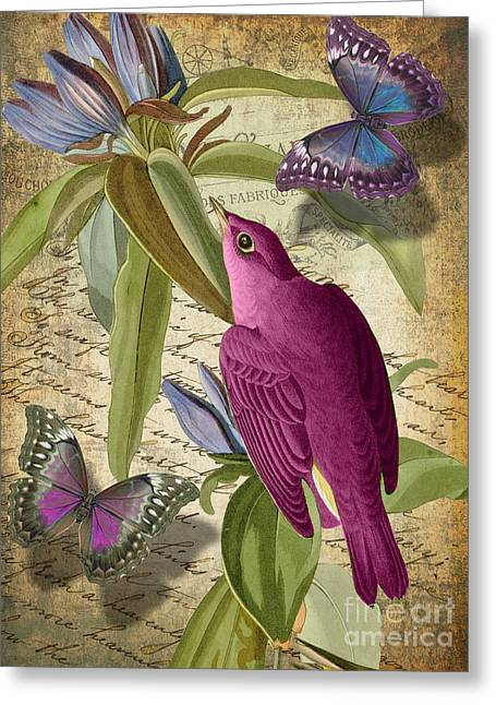 Retro Bird Greeting Cards - Petals and Wings I Greeting Card by Mindy Sommers