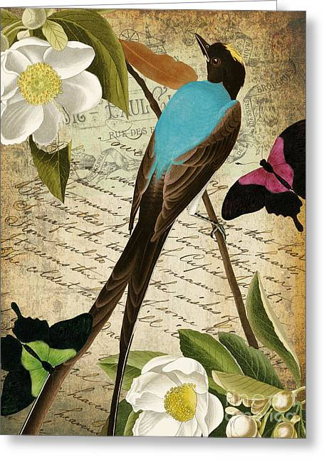 Retro Bird Greeting Cards - Petals and Wings II Greeting Card by Mindy Sommers