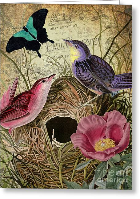 Retro Bird Greeting Cards - Petals and Wings III Greeting Card by Mindy Sommers