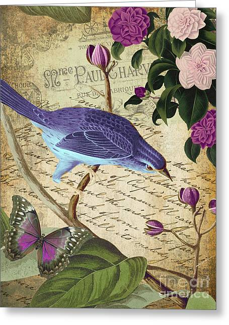 Retro Bird Greeting Cards - Petals and Wings IV Greeting Card by Mindy Sommers