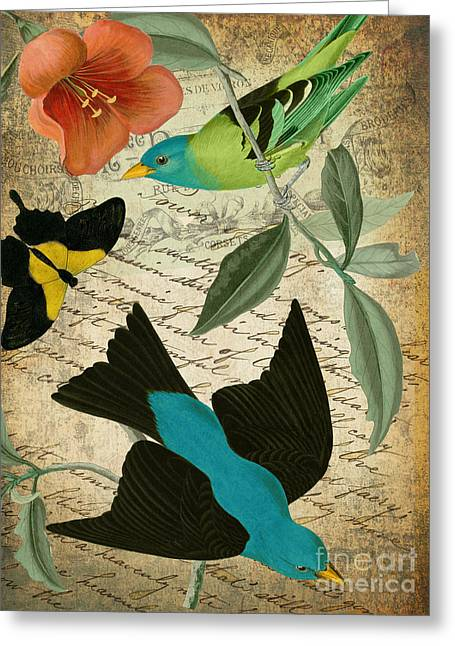 Retro Bird Greeting Cards - Petals and Wings V Greeting Card by Mindy Sommers