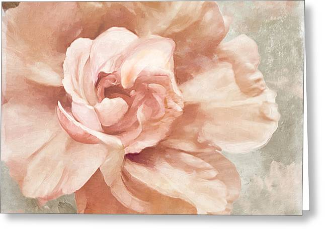 Soft Pink Greeting Cards - Petals Impasto I Greeting Card by Mindy Sommers